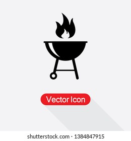 Grill Icon Vector Illustration In Flat Style Eps10