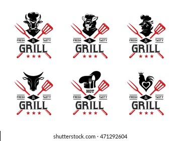 Grill labels, badges, stickers, logos and design elements. Set of vector templates isolated on white background.