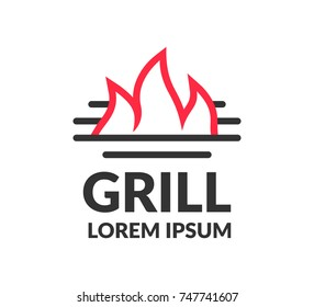 Grill logo. BBQ icon. Grill icon. BBQ party. Barbecue Grill isolated. BBQ flame. Family barbecue label. Cafe, Restoran, Grill Bar logo.