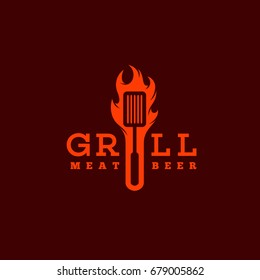 Grill logo template design with flame. Vector illustration.