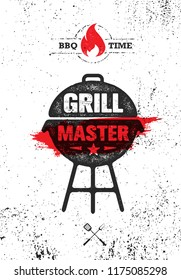 Grill Master Meat On Fire Barbecue Menu Vector Design Element. Outdoor Meal Creative Rough Sign On Grunge Stained Background.