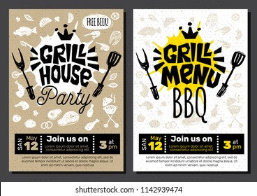 Grill menu Gill House Party Time BBQ food poster. Grilled food, meat fish vegetables grill appliance fork knife chicken shrimps lemon spice. Hand drawn vector illustration.
