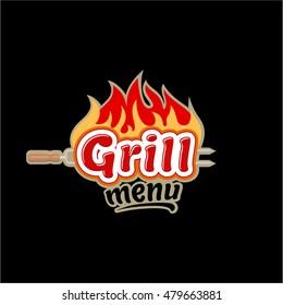 Grill menu Logo emblem badge  icon black background