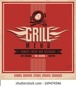 Grill menu retro flyer design template. Vintage poster design for BBQ restaurant. Food and drink concept.