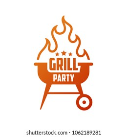 Grill party. Barbecue emblem, logo. BBQ