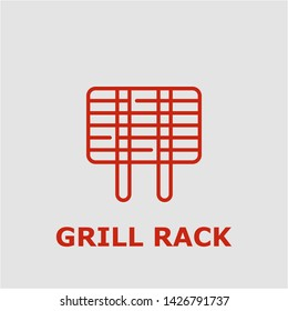 Grill rack symbol. Outline grill rack icon. Grill rack vector illustration for graphic art.