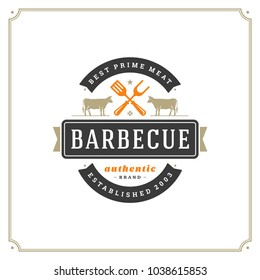 Grill restaurant logo vector illustration. Barbecue steak house menu emblem, cows silhouettes. Vintage typography badge design.