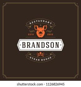 Grill restaurant logo vector illustration. Barbecue steak house menu emblem, cows silhouettes. Vintage typography badge design.