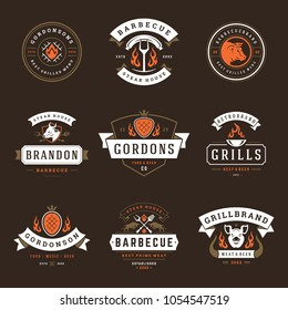 Grill restaurant logos and badges set vector illustration. Barbecue steak house menu emblems and food silhouettes. Vintage typography design.