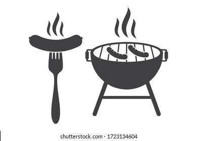 grill and sausage vector icon illustration, BBQ Grill symbol. isolated on white background,