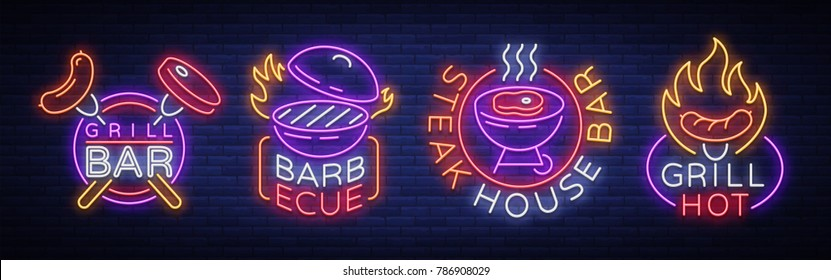 Grill is a set of neon-style logos. Vector illustration on the theme of food, meat of the same. Collection of neon signs, Grill bar, restaurant, snack bar, dining room. Barbecue, Steak House
