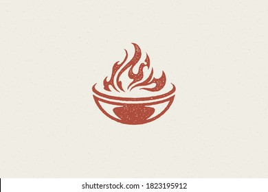 Grill silhouette with burning fire flame barbecue food preparation hand drawn stamp effect vector illustration. Vintage grunge texture emblem for bbq packaging and menu design or label decoration