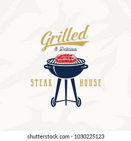 Grill Steak House Vintage Vector Label, Card, Emblem or Logo Template. Retro Typography and Meat Texture. Gold, Blue and Red Colors. Steak and Barbecue Grill Silhouettes. Isolated.