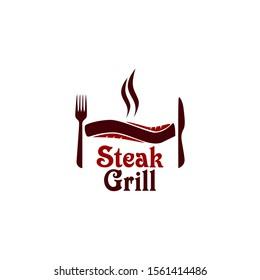 Grill Steak Logo and badges vector illustration
