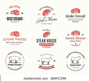 Grill steak logo and icons for BBQ and steakhouse labels