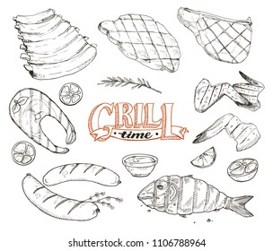 Grill time. Hand drawn bbq meat and fried fish sketches isolated on white background. Barbeque pork ribs, beafsteak, chicken wings. Grilled dorado and salmon. Roasted sausages.