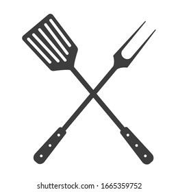 Grill tools icon. Crossed barbecue fork with spatula.  Isolated on white background.