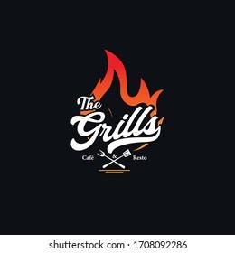Grill Vintage Logo Vector Template