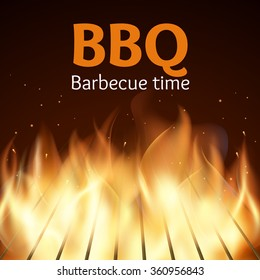 Grille with fire. BBQ poster. Flame for barbecue, cooking grilled, vector illustration