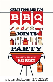 grilled bbq party icon style for invitation car or flyer or poster