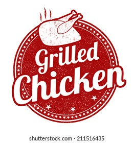 Grilled chicken grunge rubber stamp on white background, vector illustration