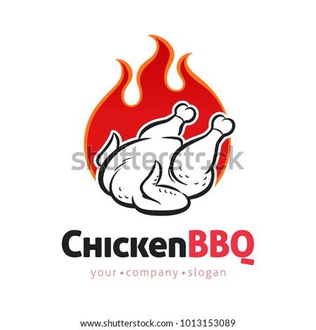 Grilled Chicken Vector Logo Design Template Stock Vector Royalty