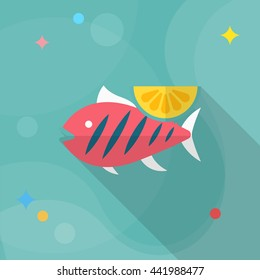 Grilled fish icon, Vector flat long shadow design. EPS10