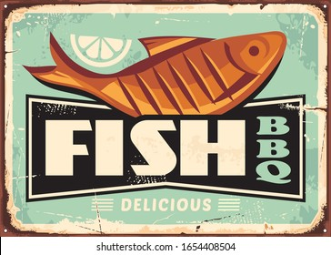 Grilled fish and lemon slice vintage vector sign for fish restaurant.  Seafood retro poster. Barbecue diner food advertising. BBQ vector illustration on old metal scratched textured background.