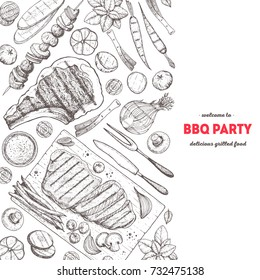 Grilled meat and vegetables poster. Vector illustration. Engraved design. Hand drawn illustration. Grill restaurant menu design template.