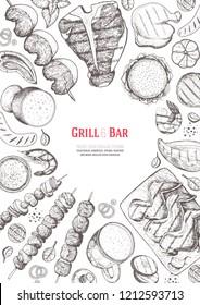 Grilled meat and vegetables top view frame. Hand drawn illustration. Grill restaurant menu design template. Pub food vector illustration. Vintage engraved illustration for beer restaurant.