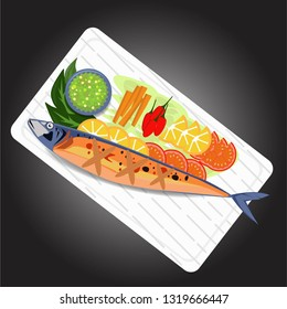 Grilled Saba Fish on a rectangular plate, decorated with tomatoes, lemons, carrots, lettuce and black background.