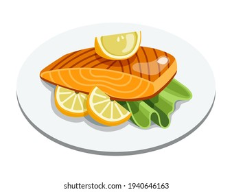 Grilled salmon fillet fish on plate. Cooked tuna steak with lemon and lettuce leaves. Cartoon vector seafood illustration.