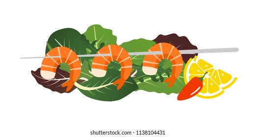 Grilled shrimp skewers on mix of lettuce leaves. Tasty fresh cooked fried shrimps dish with lemon slice, dill and pepper. Sea food nutrition concept. Vector flat cartoon isolated illustration