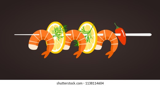 Grilled shrimp skewers. Tasty fresh cooked fried shrimps dish with lemon slice, dill and pepper. Sea food nutrition concept. Vector flat cartoon isolated illustration