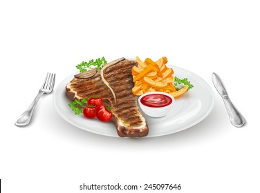 Grilled steak on plate with potato chips vegetables knife and fork vector illustration