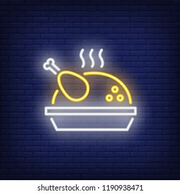 Grilled turkey neon icon. Steam, meat, dinner. Thanksgiving concept. Vector illustration can be used for street wall signs, billboards, restaurants, autumn menu