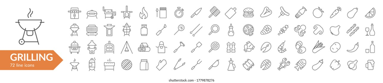 Grilling BBQ line icon set. Isolated signs on white background. Vector illustration. Collection