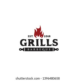 Grills barbecue logo design vector template