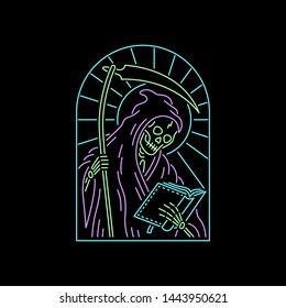 GRIM REAPER WITH BOOK COLOR NEON BADGE BLACK BACKGROUND
