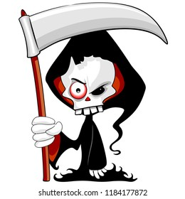 Grim Reaper Creepy Cartoon Character with Black Hooded Cload wielding a Big Scythe.