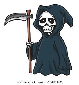 Grim Reaper Cute Cartoon Skeleton Halloween Vector Illustration