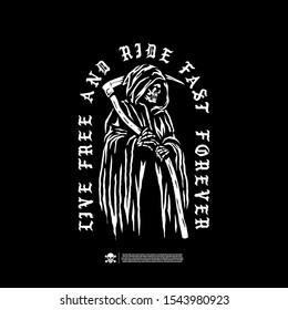 Grim Reaper. Design for printing on t-shirts, stickers and more. Vector.