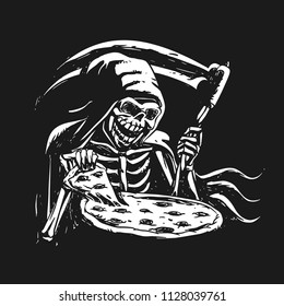 Grim reaper eating pizza - black and white