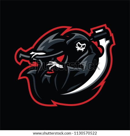 grim reaper esport gaming mascot logo stock vector royalty free
