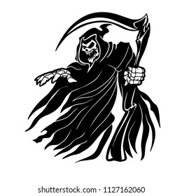 Grim Reaper ghost Vapparition vector logo black and white