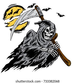 Grim Reaper graphic carrying a scythe with foggy moon and basin the background for shirt, cap, banner, poster, greeting card, party invitation. Isolated illustration.