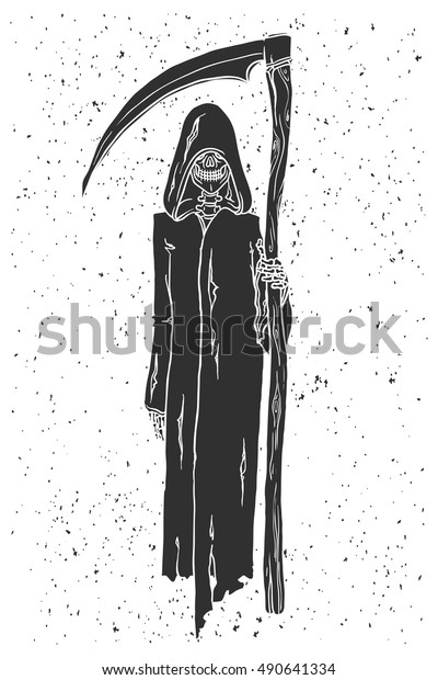 Grim Reaper Hand Drawn Vector Illustration Stock Vector