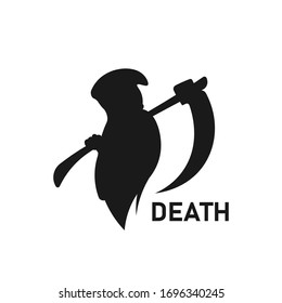Grim reaper holding scythe collecting souls silhouette. Death icon sign or symbol. Dead man logo. Funeral parlor. Casualty concept. Infographics element - Simple vector black and white illustration.