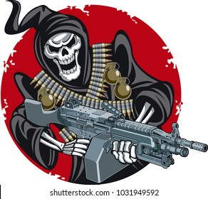 grim reaper with machine gun crossed ammunition belts and hand grenades