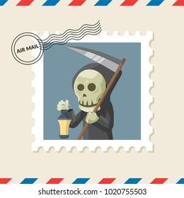 Grim reaper postage stamp on air mail envelope